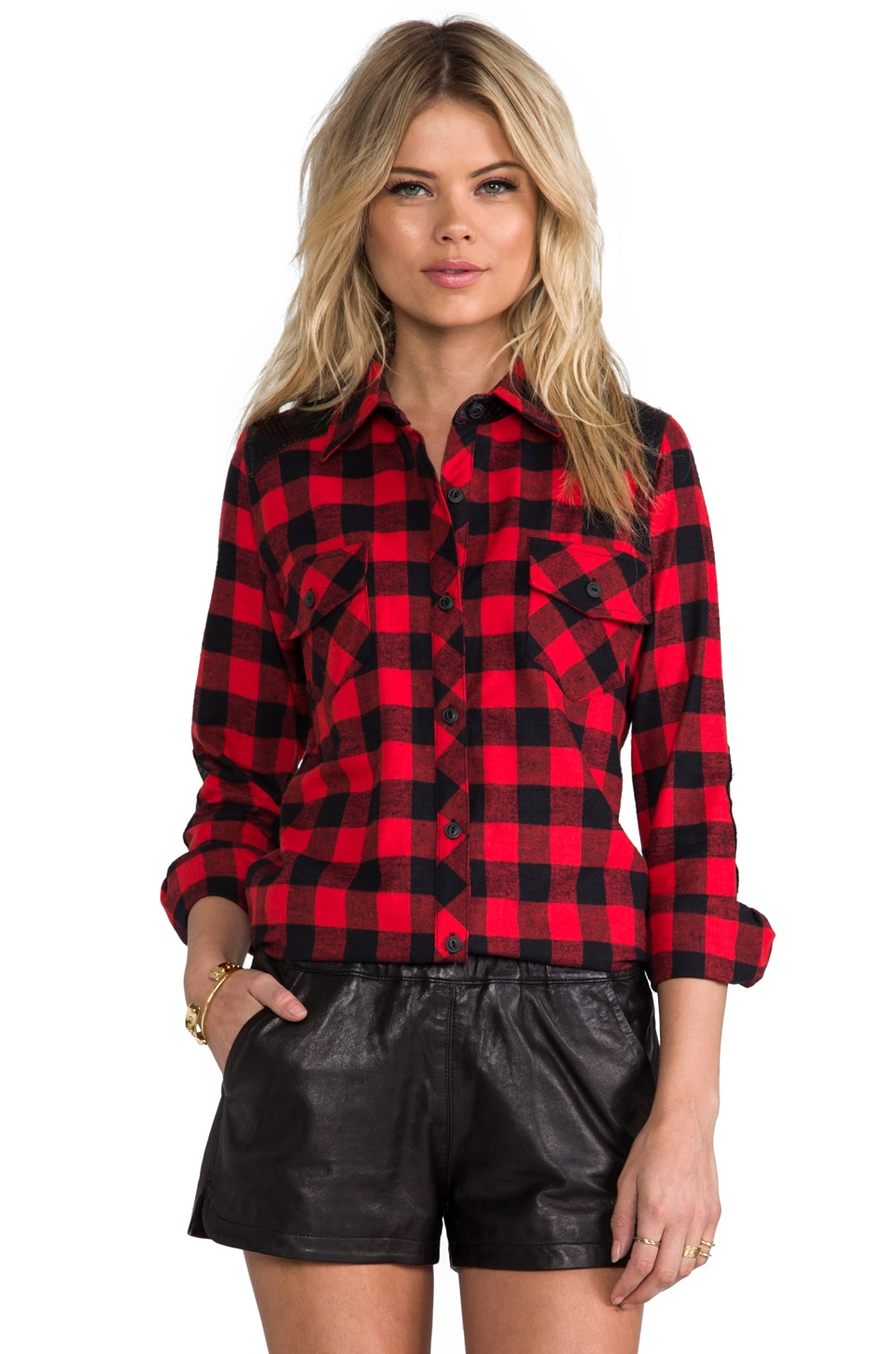 Generation Love Olga Perforated Plaid Combo Top in Red
