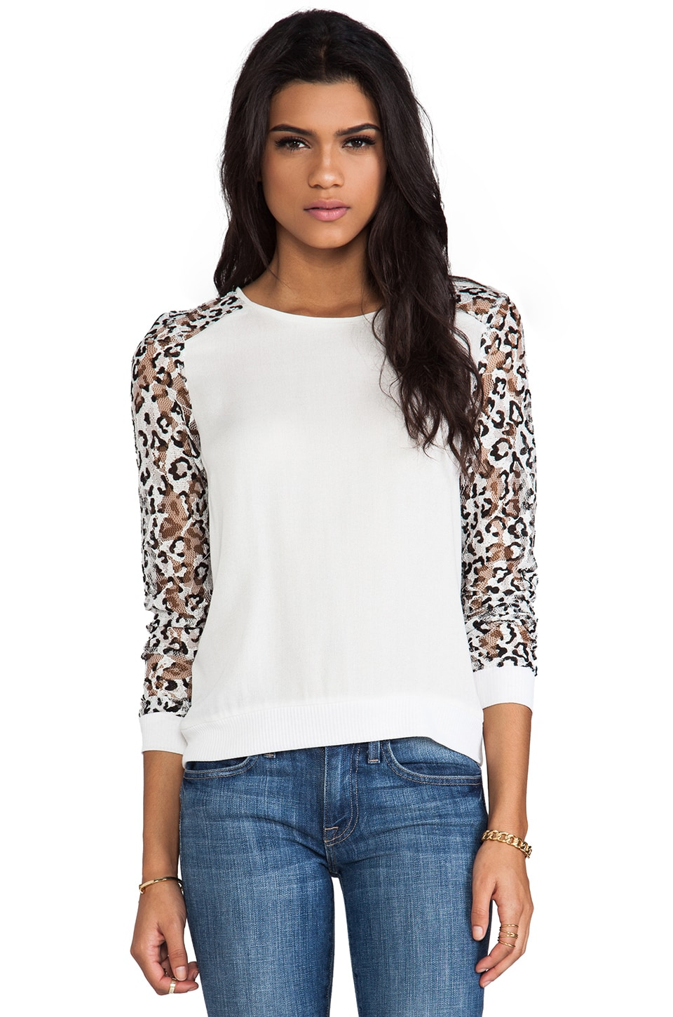 Generation Love Aria Leopard Lace Long Sleeve in White