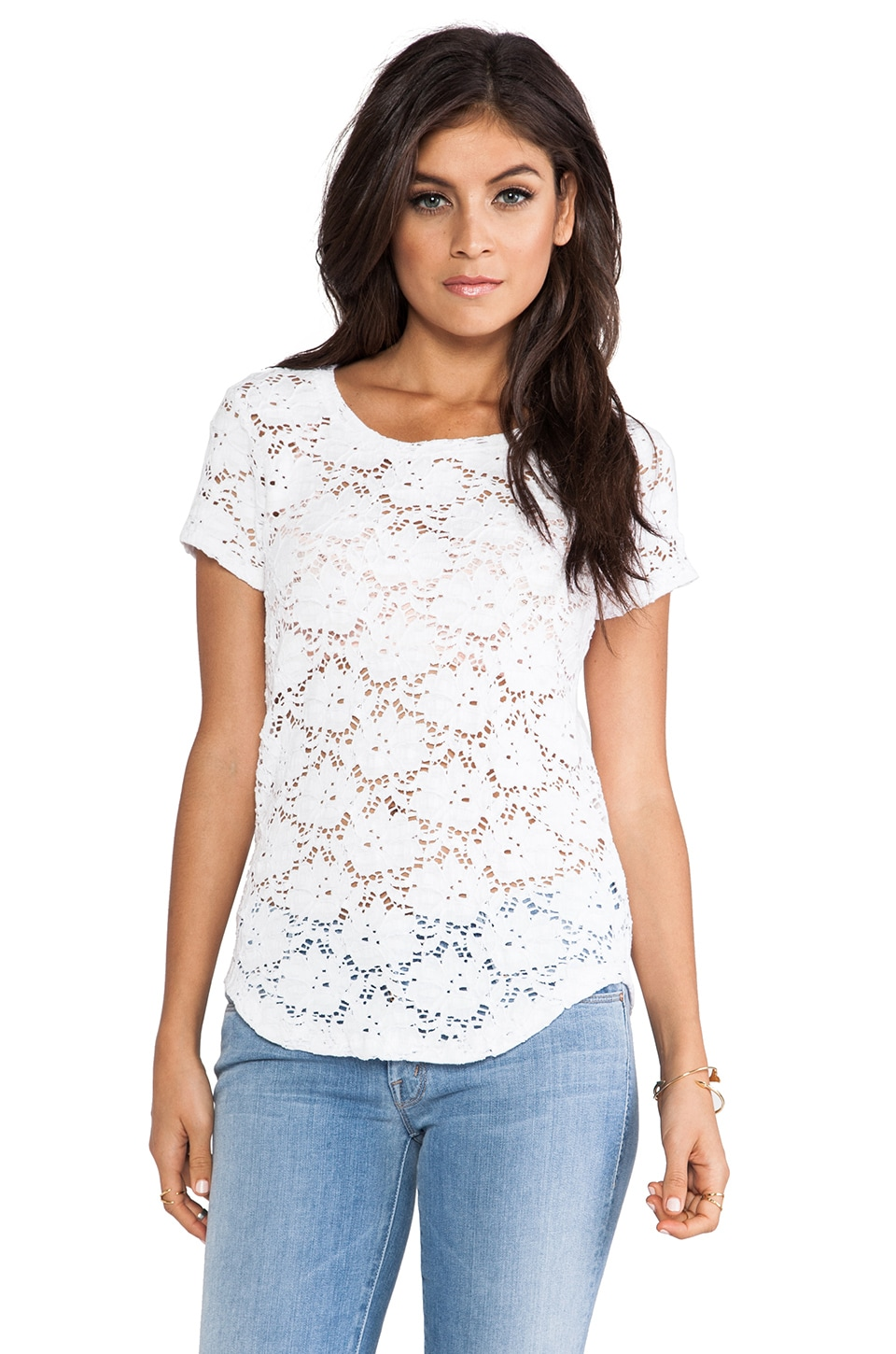 Generation Love Solange Curved Hem Lace Short Sleeve in White