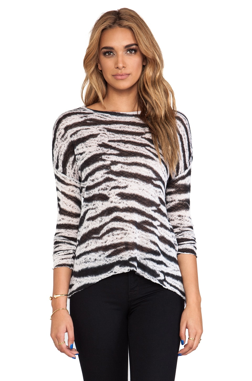 Generation Love Judy Tie Dye Long Sleeve Top in Black & White