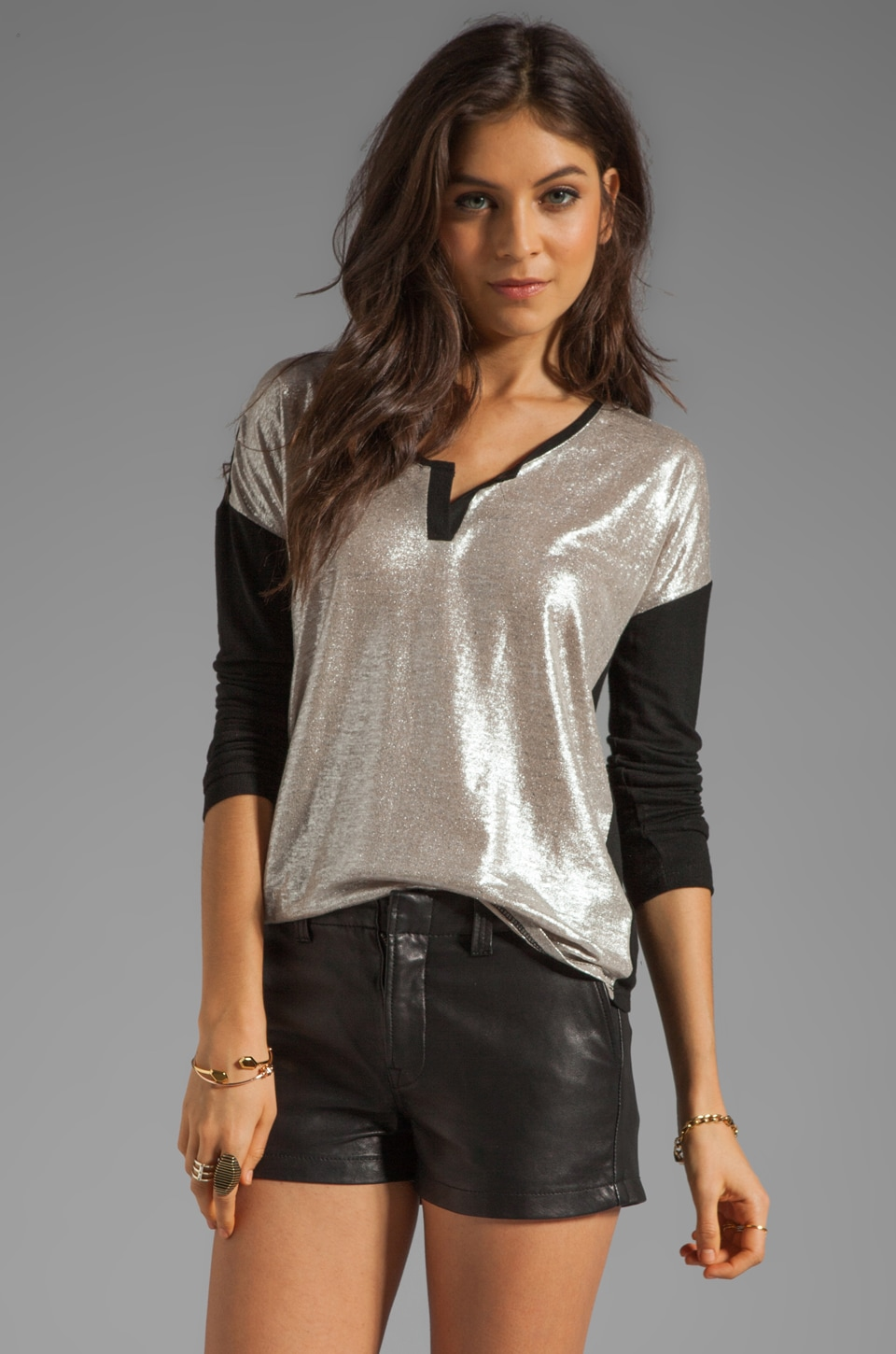 Generation Love Hanna Metallic Linen Henley in Black/Sliver