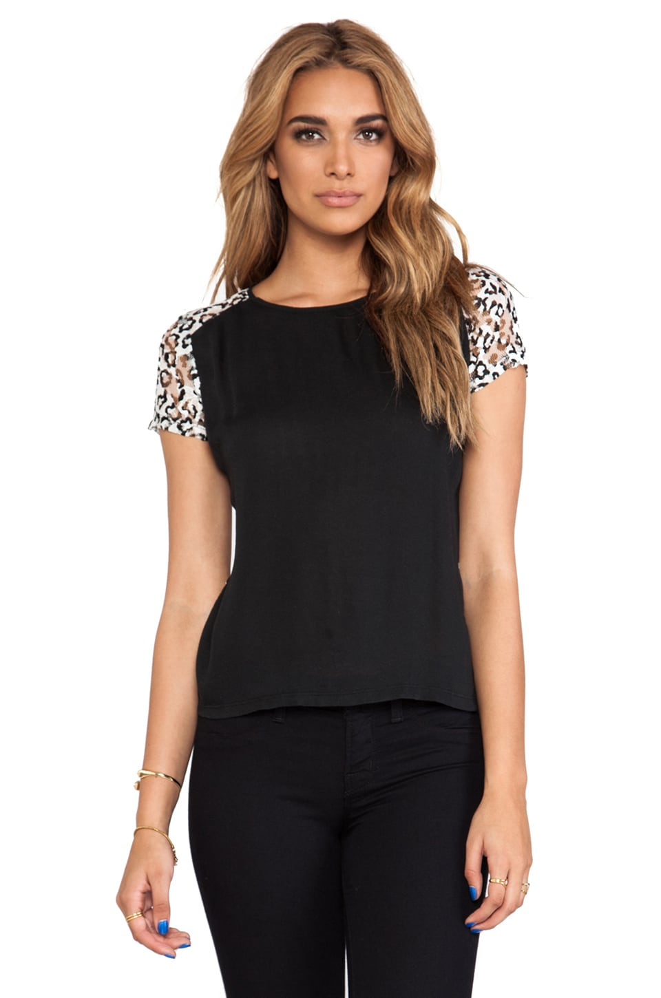 Generation Love Mona Leopard Lace Zipper Tee in Black