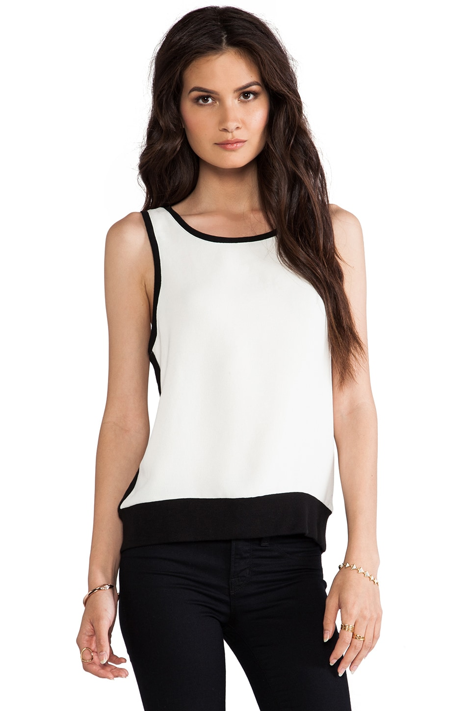 Generation Love Alicia Rib Detail Sleeveless in Ivory & Black