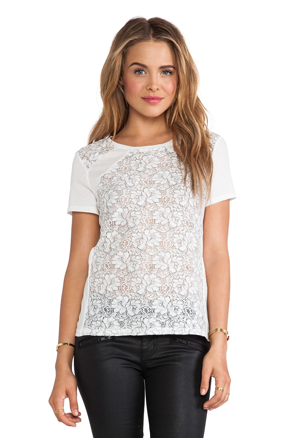 Generation Love Erykah Lace Flower Top in Grey & White