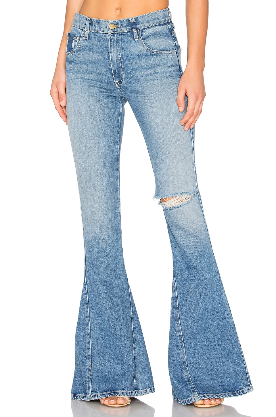 GM STUDIO The Skinny Bell Bottoms in Old Found Wash