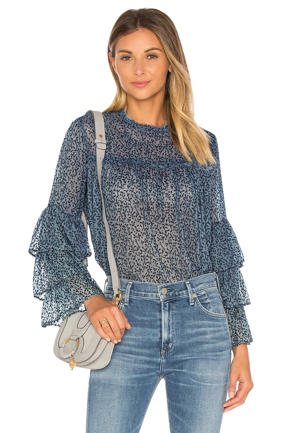 GM STUDIO The Bell Sleeve Blouse in Indigo Enzyme