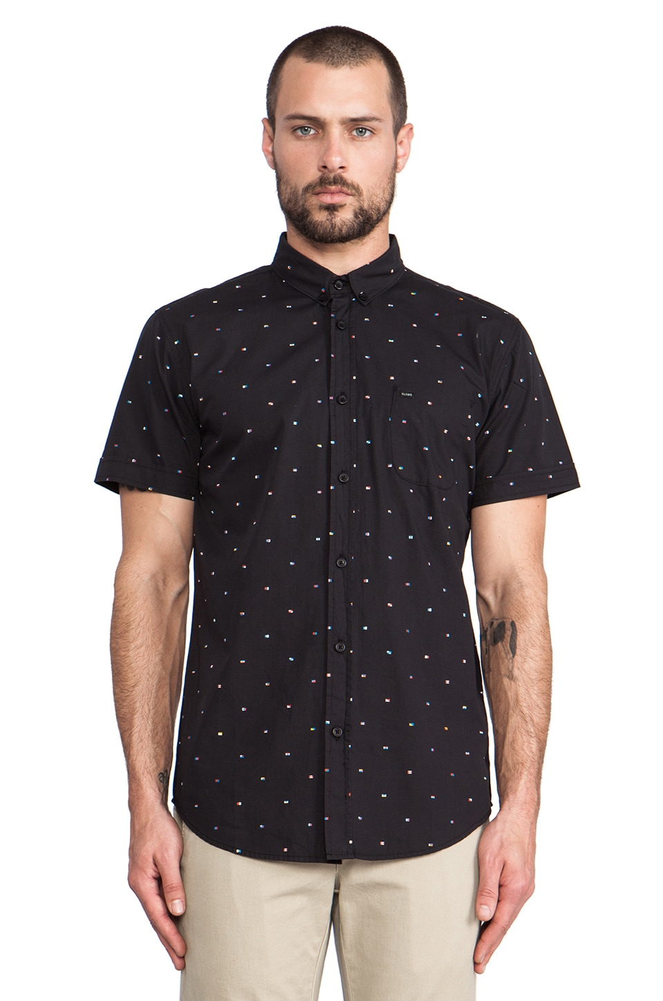 Globe Signal Button Up in Black