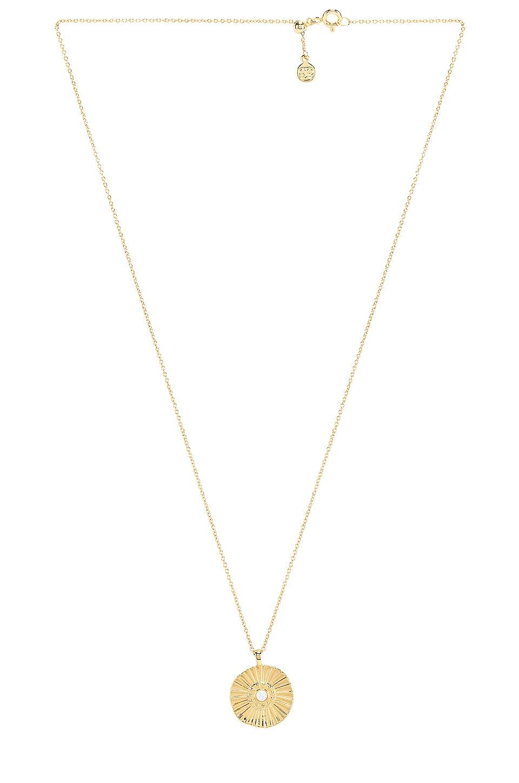 gorjana Sunburst Coin Necklace in White Opalite & Gold