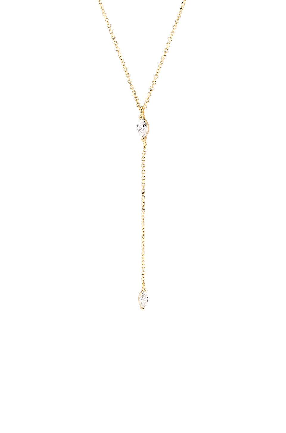 gorjana Lena Lariat Necklace in White CZ & Gold