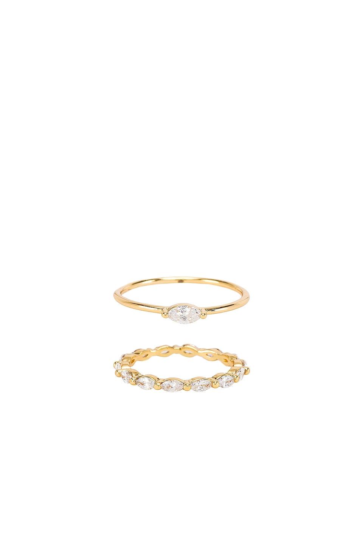 gorjana Lena Ring Set in White CZ & Gold
