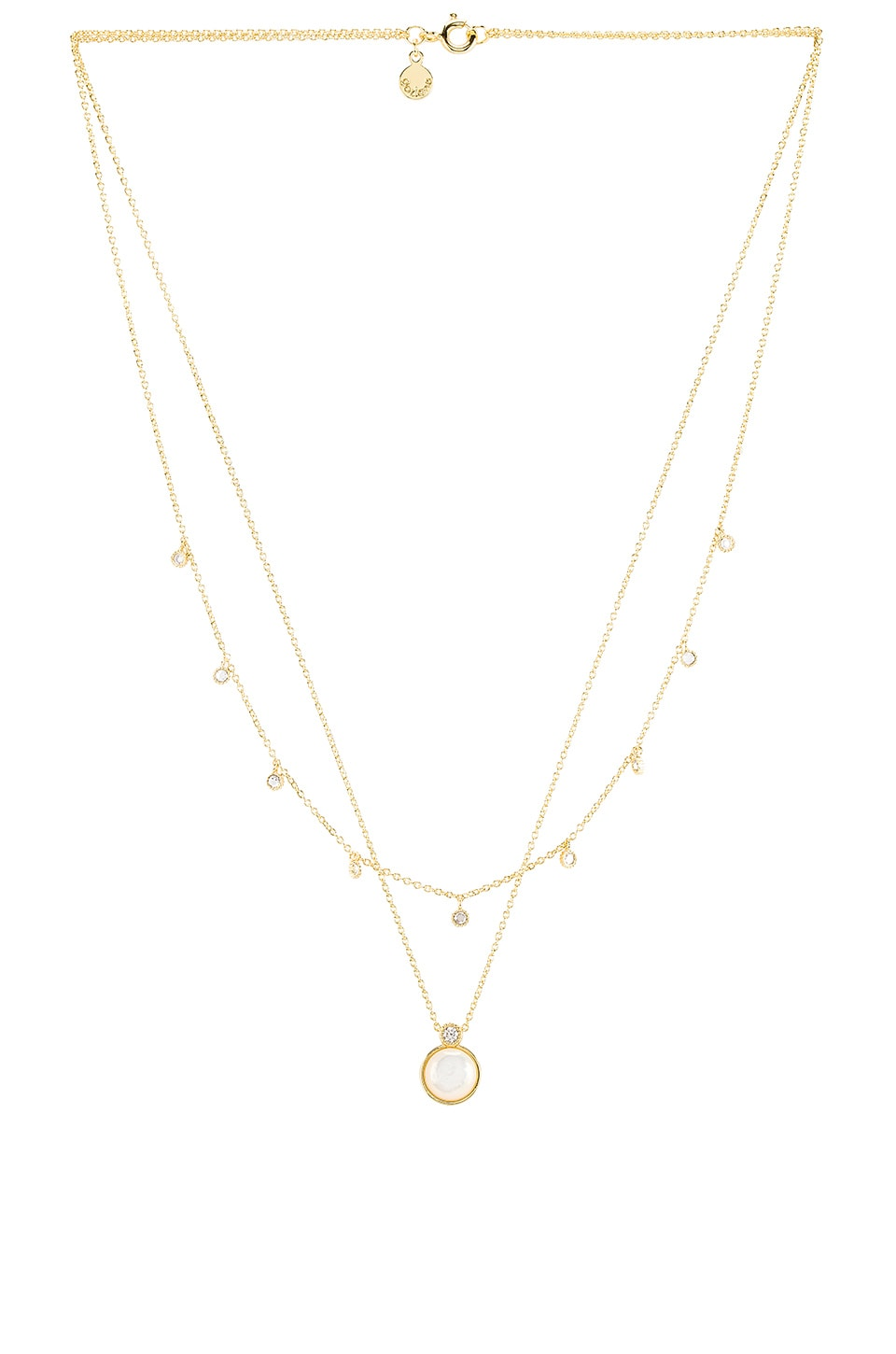 gorjana Eloise Gem Layered Necklace in Mother of Pearl & Gold