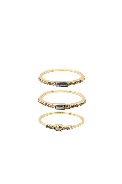 gorjana Desi Ring Set in Jet Hematite Crystal & Black Crystal & Gold