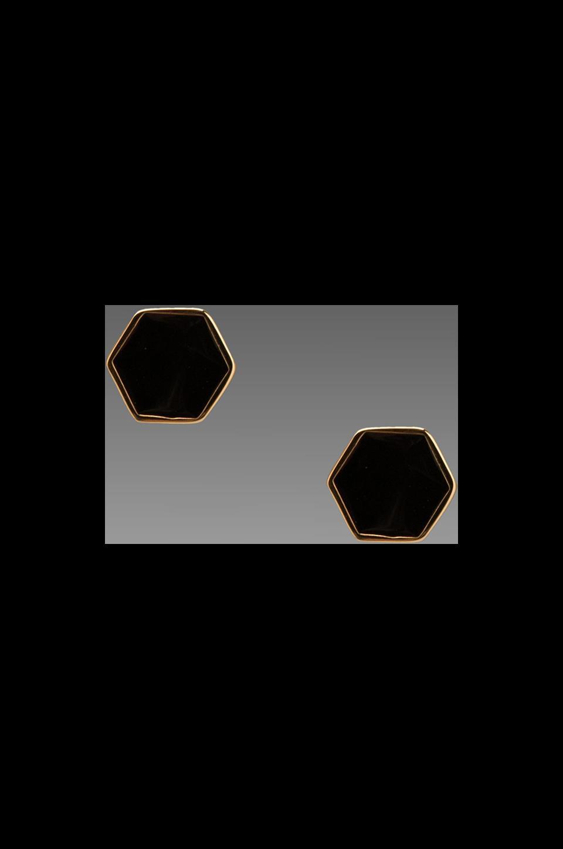 gorjana Bloom Hexagon Stud Earrings in Black