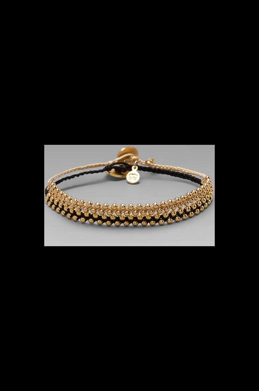 gorjana EXCLUSIVE Bali Bead Bracelet Set in Black/Cream/Gold