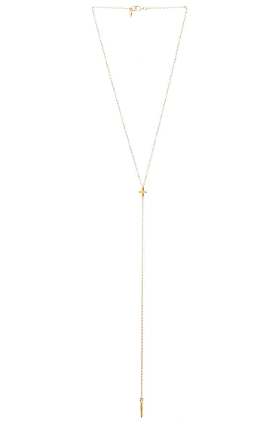 gorjana Cross Over Lariat in Gold
