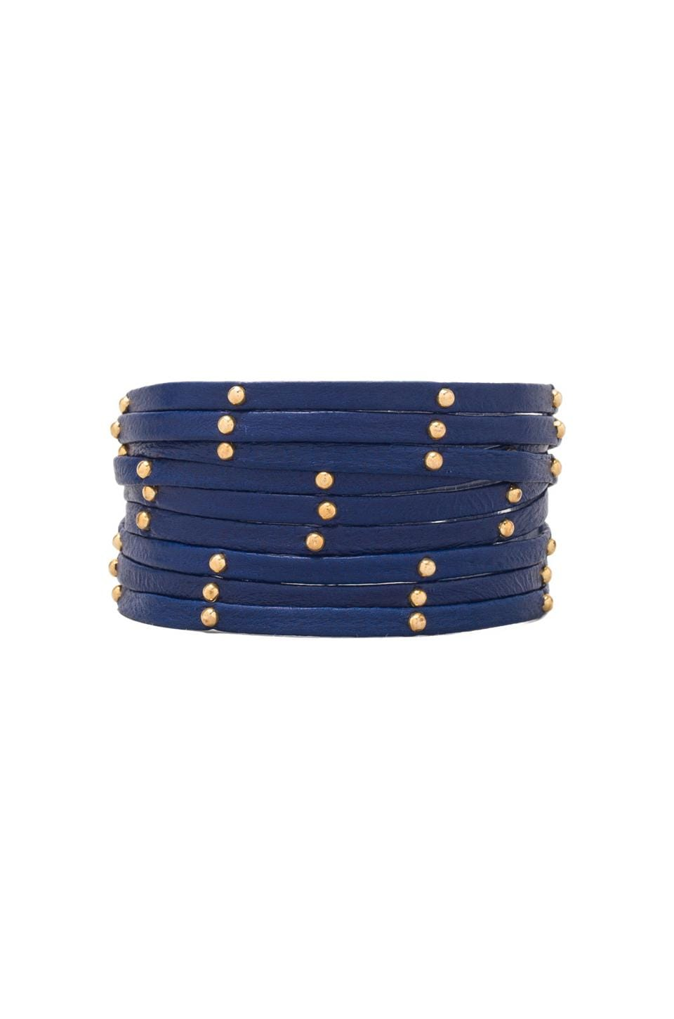 gorjana Graham Leather Triple Strand Wrap in Electric Blue