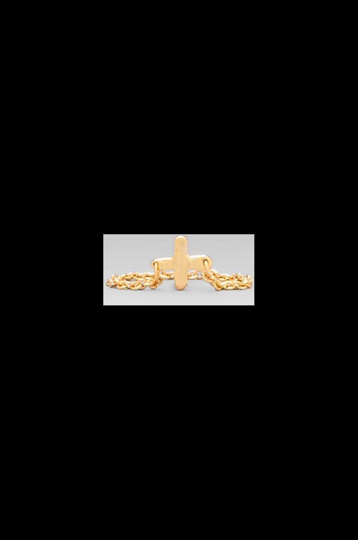 gorjana Cross Over Chain Ring in Gold