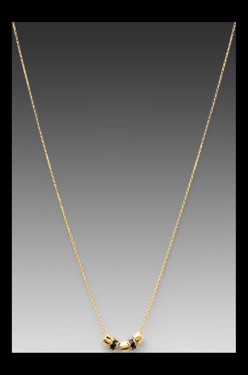 gorjana Zig Zag Enamel Small Necklace in Black/Gold