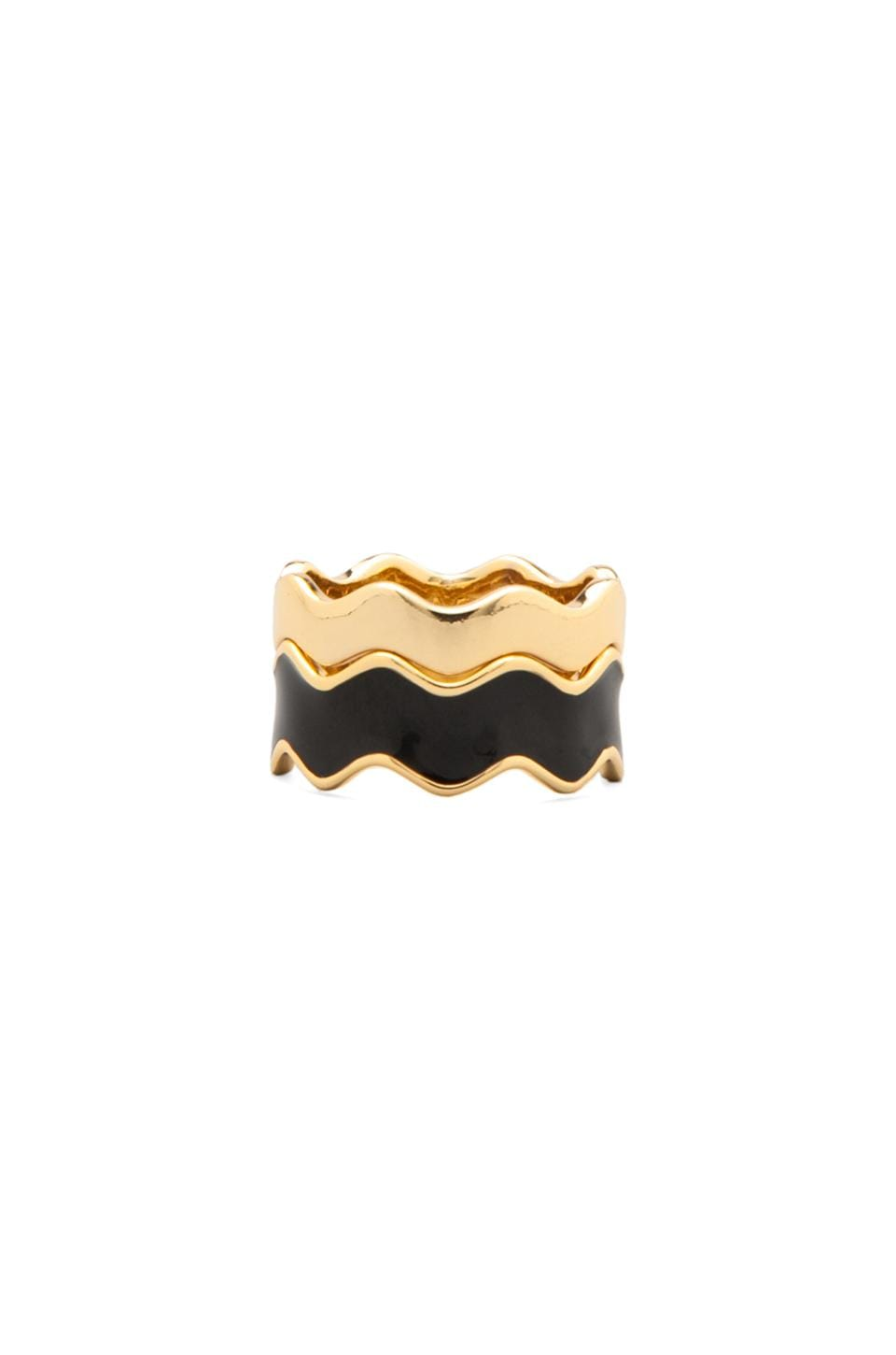 gorjana Zig Zag Enamel Double Ring Set in Black/Gold
