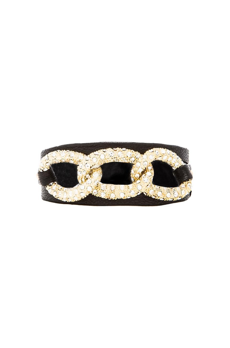 gorjana Parker Shimmer Leather Wrap in Black