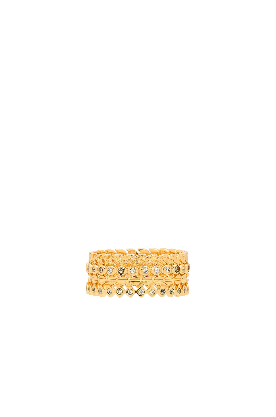 gorjana Mini Stackable Ring Set in White & Gold