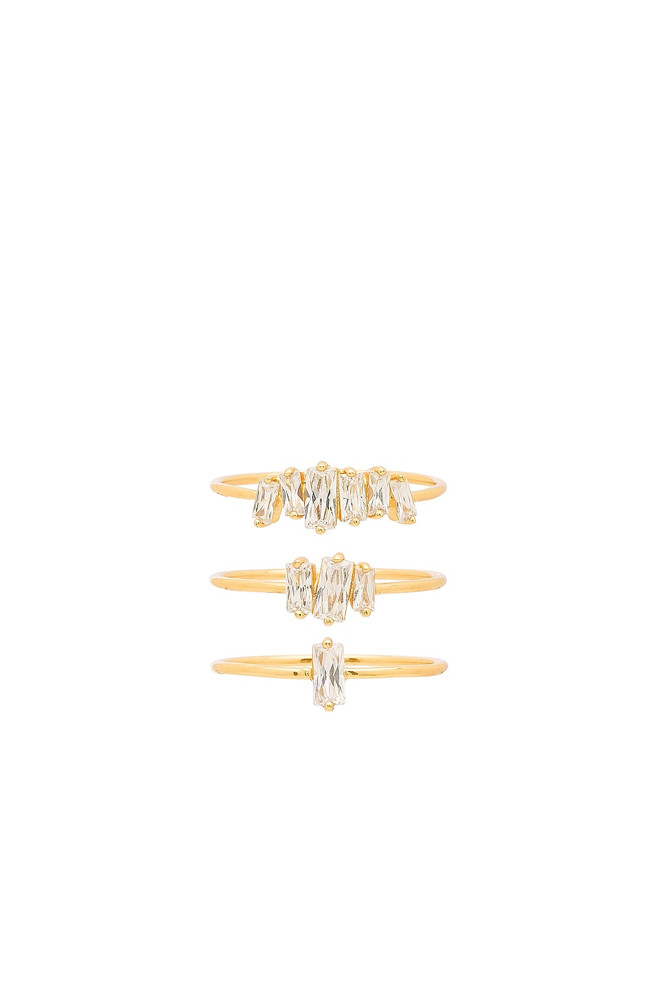 gorjana Amara Ring Set in White CZ & Gold