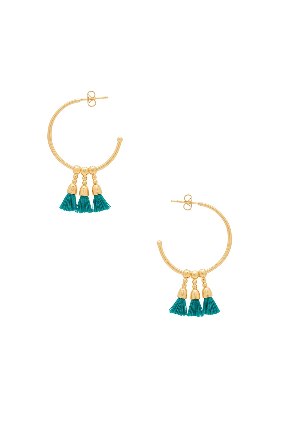 gorjana Baja Hoop Earrings in Teal & Gold