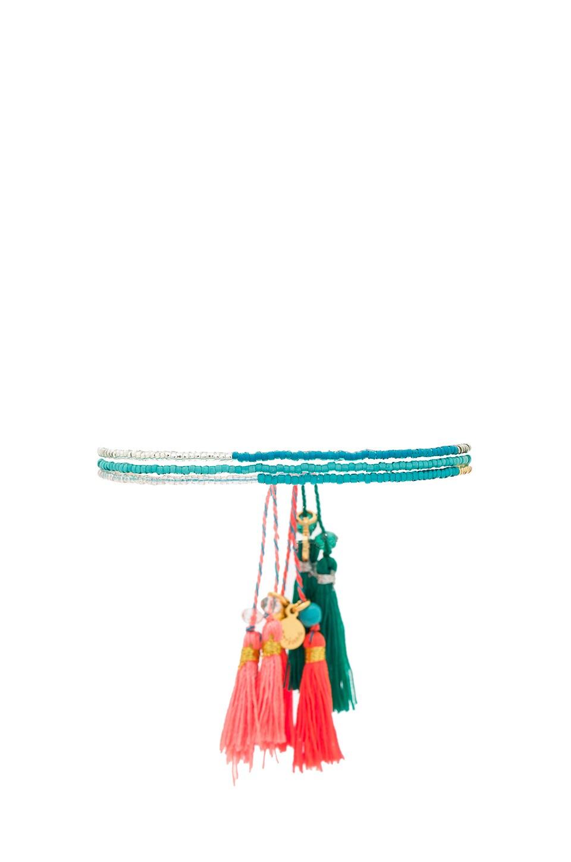 gorjana Playa Beaded Bracelet Set in Teal & Gold