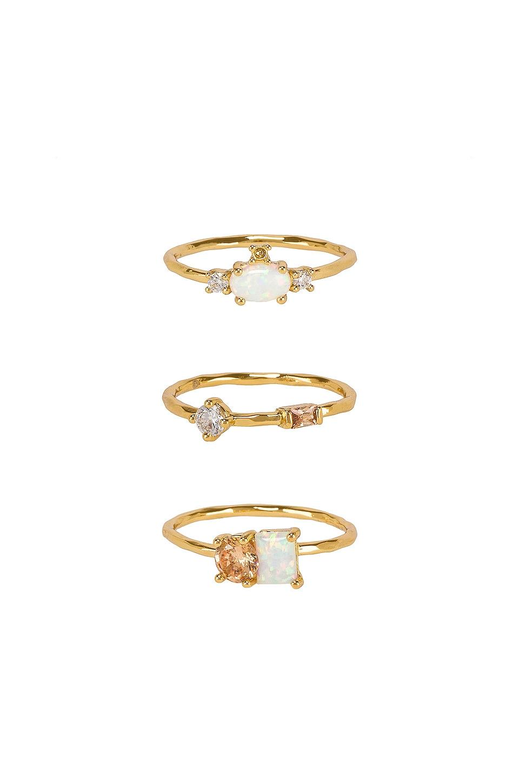 gorjana Hudson Ring Set in Opalite & Gold