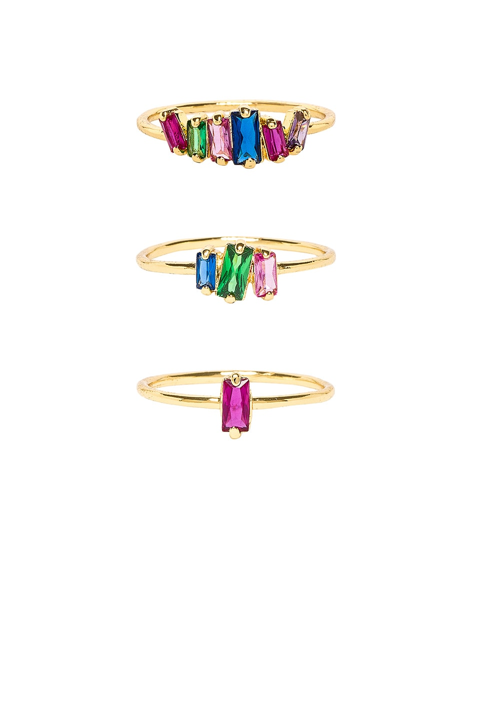 gorjana Amara Ring Set in Jewel Tone Mix CZ & Gold