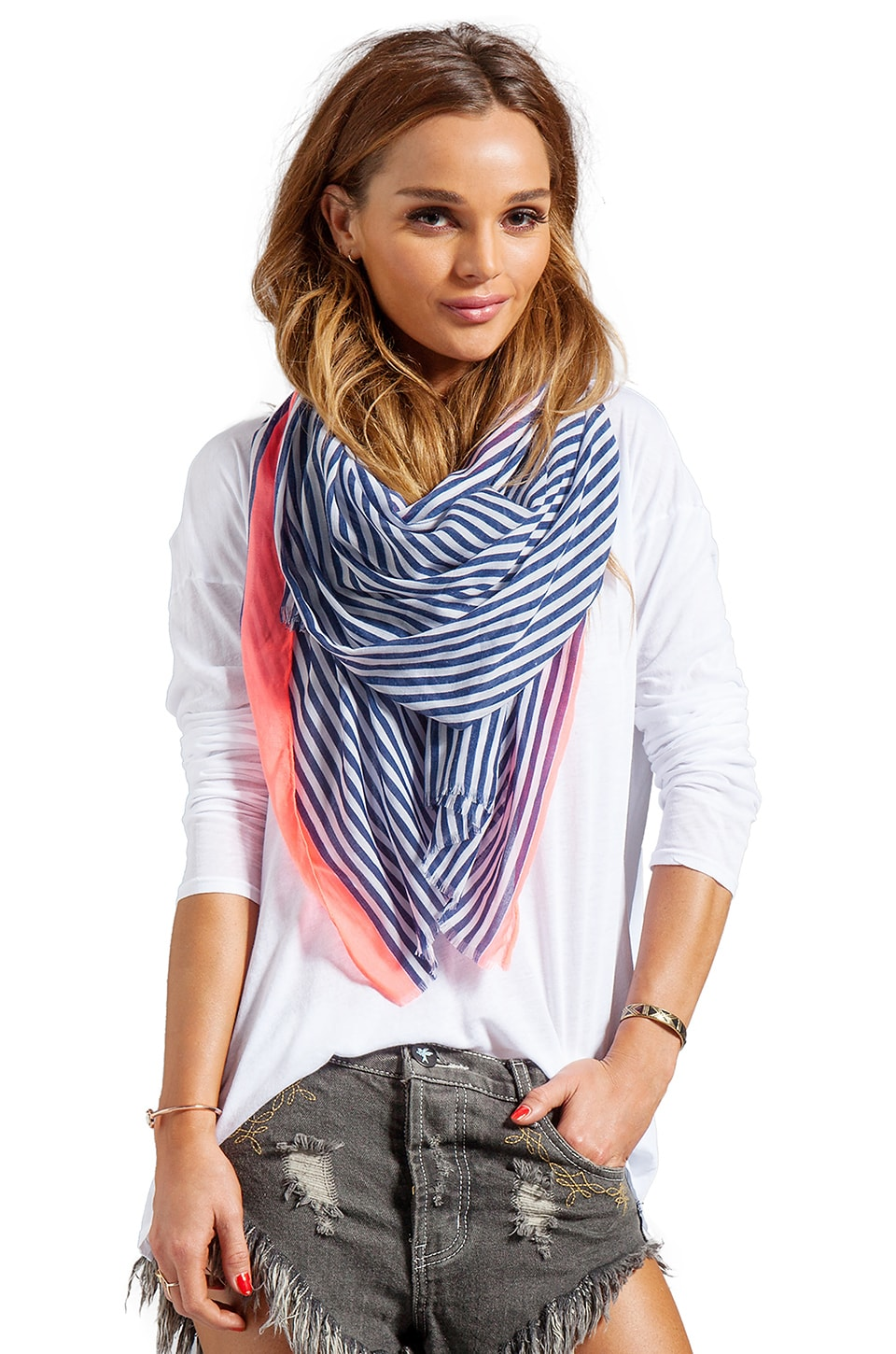 gorjana Zuma Scarf in Navy/White Stripes w/Neon Pink