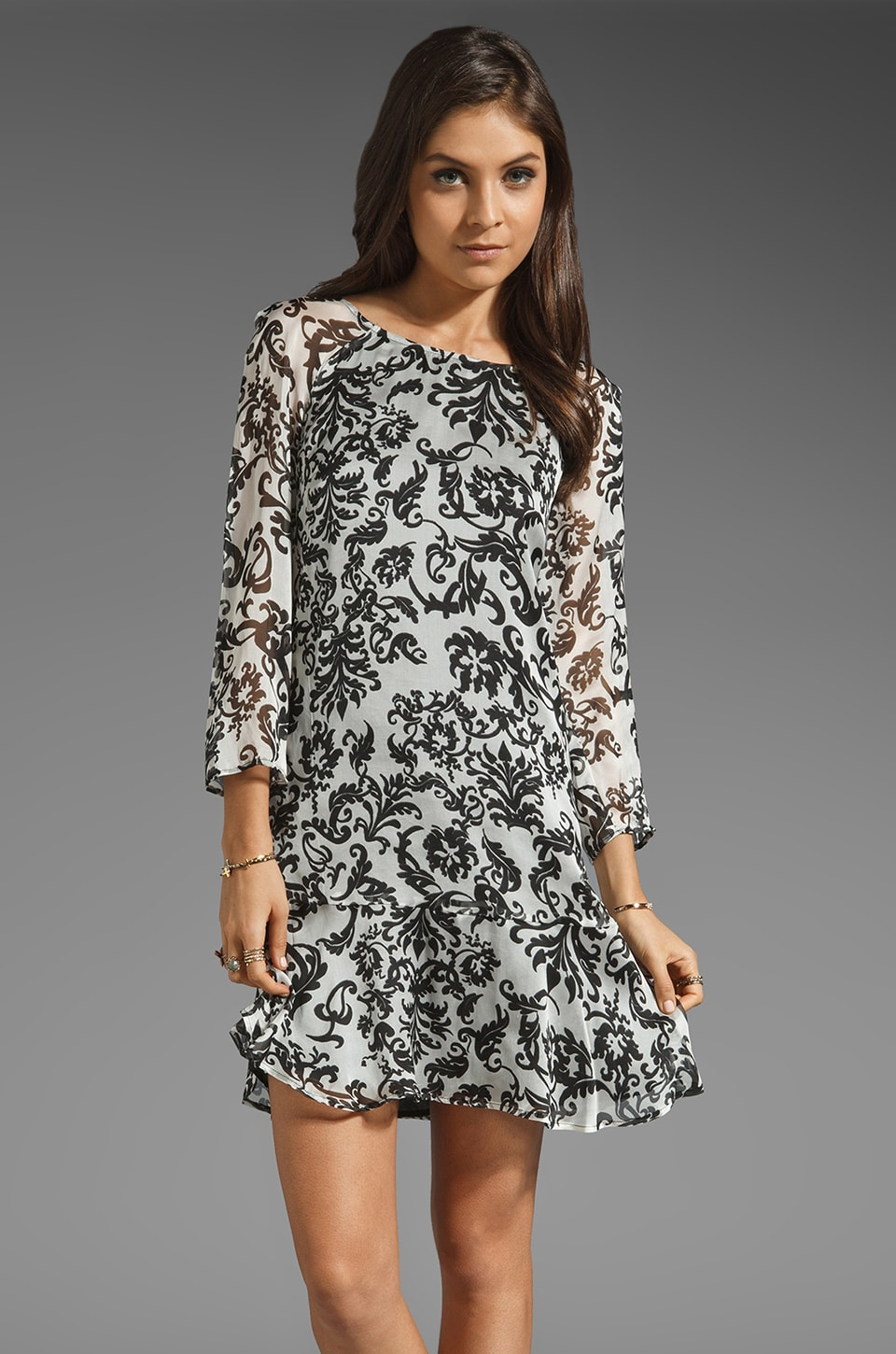 Graham & Spencer Wallpaper Print Long Sleeve Dress in Black/White