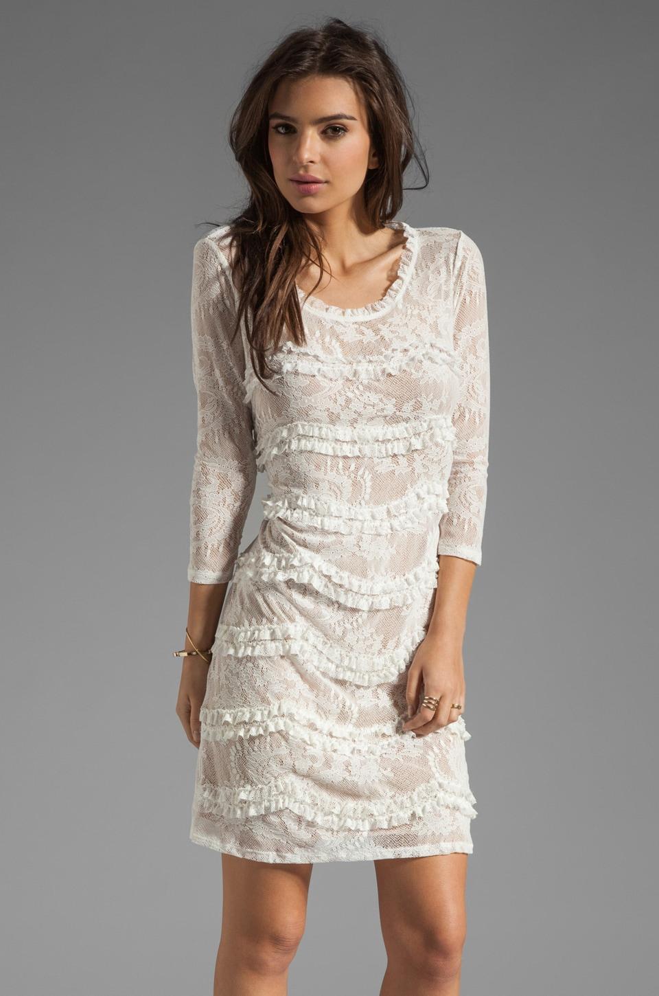 Graham & Spencer Paisley Lace Elbow Sleeve Dress in White