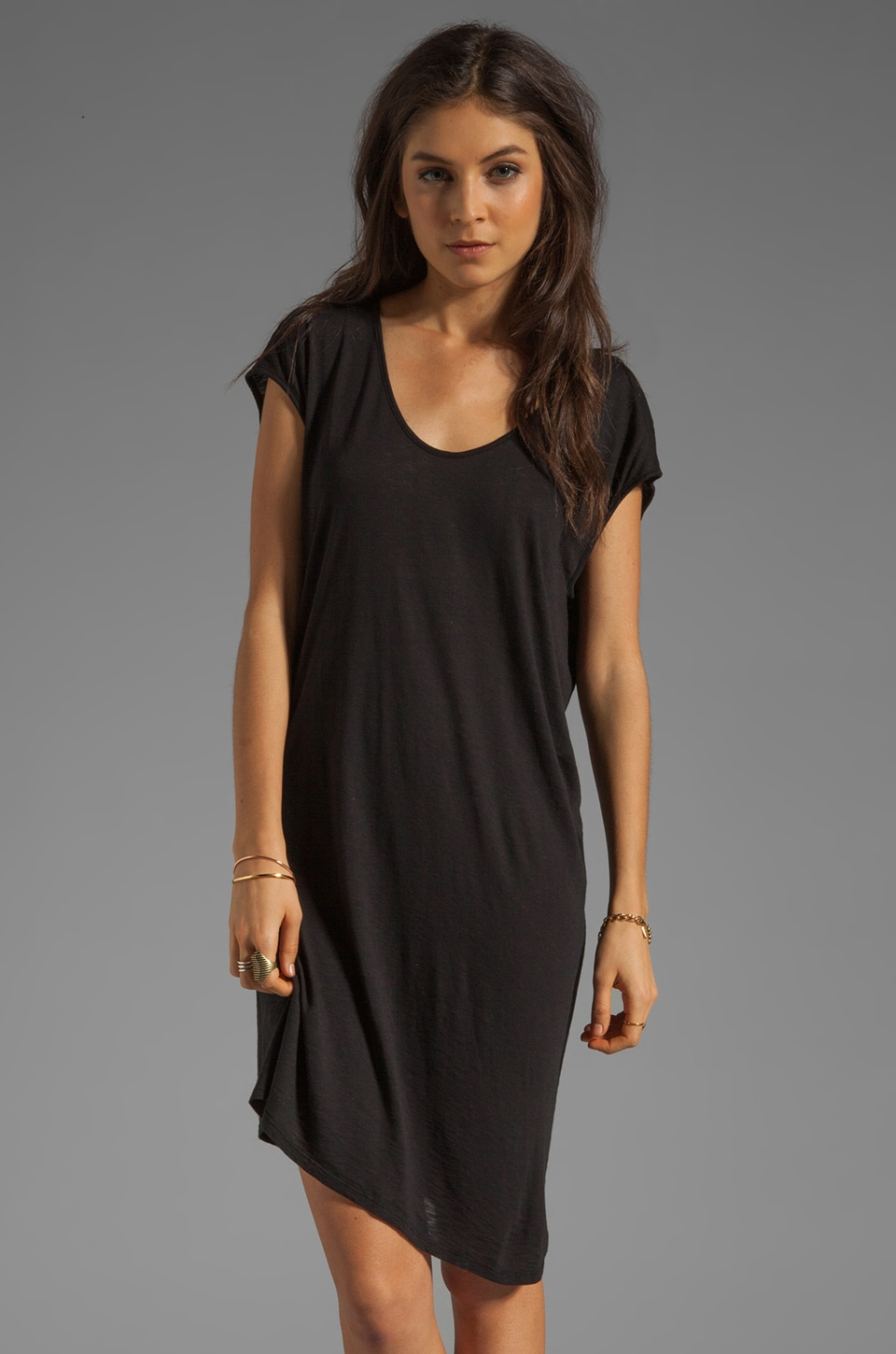 Graham & Spencer Modal Slub Shirt Dress in Black