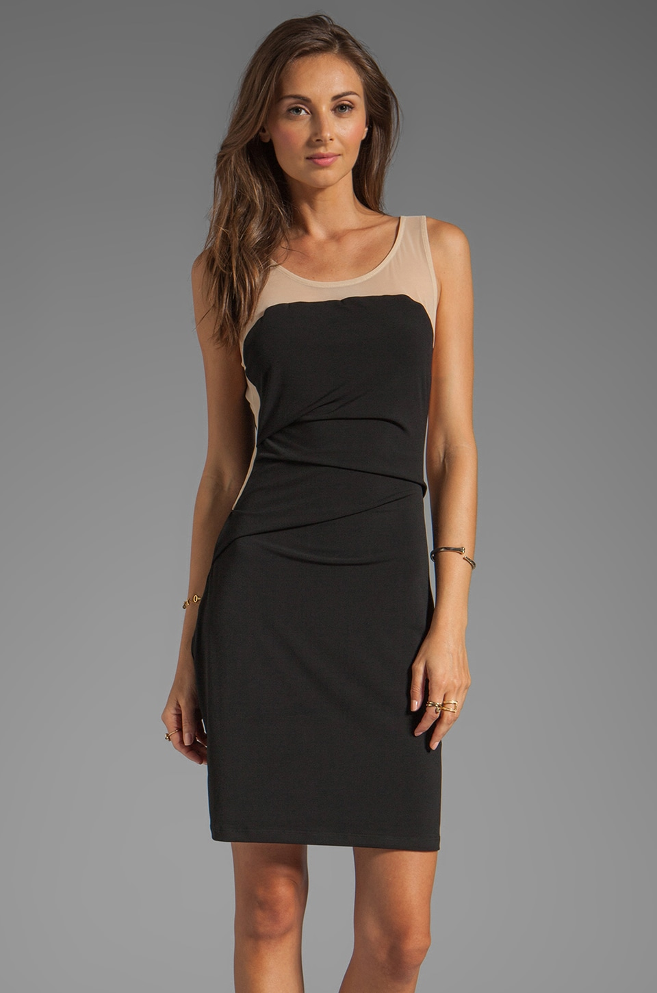 Graham & Spencer Stretch Jersey Mesh Strapless Dress in Black