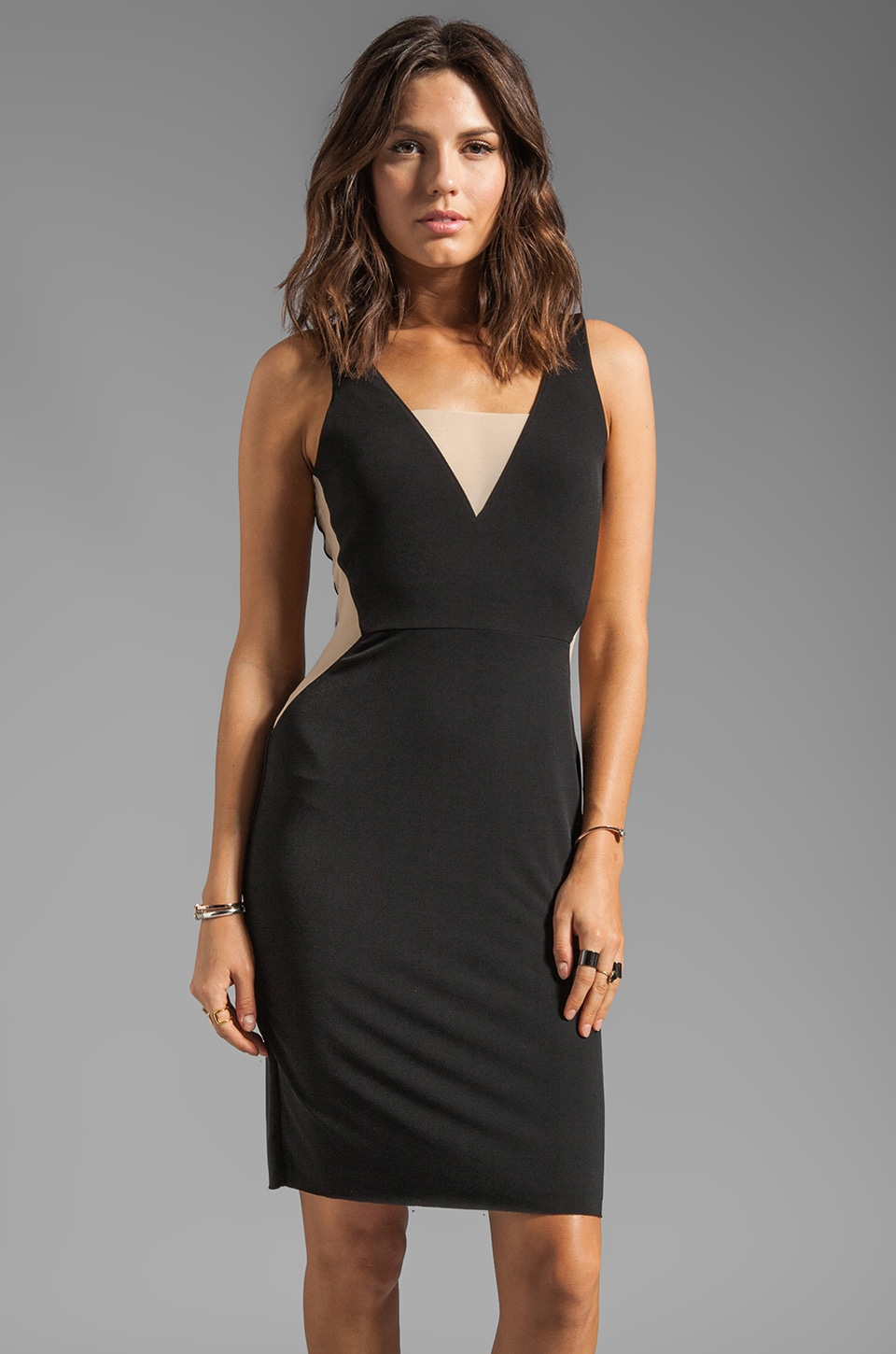 Graham & Spencer Stretch Jersey Mesh Tank Dress in Black