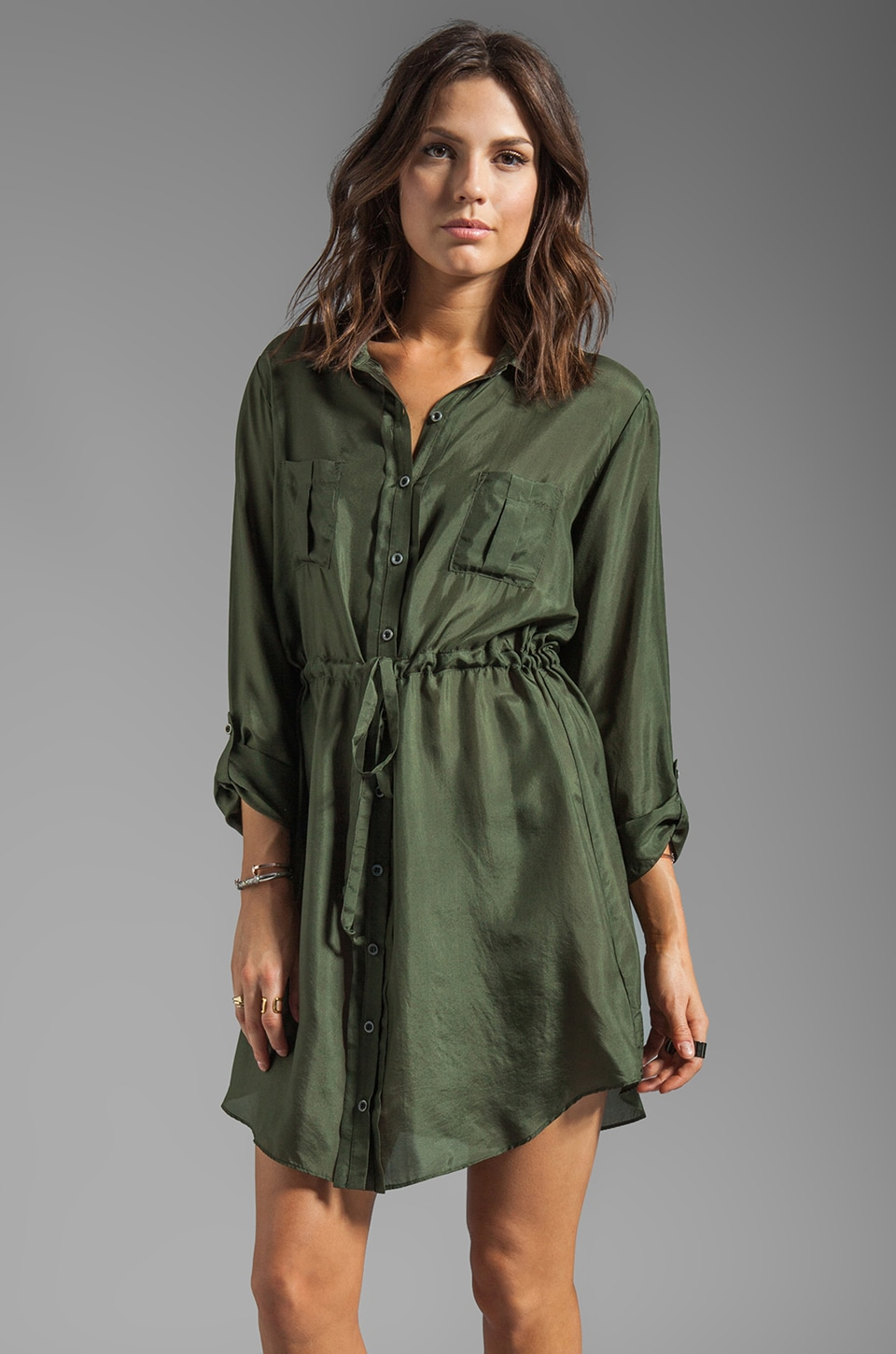 Graham & Spencer Washed Silk Shirt Dress in Army