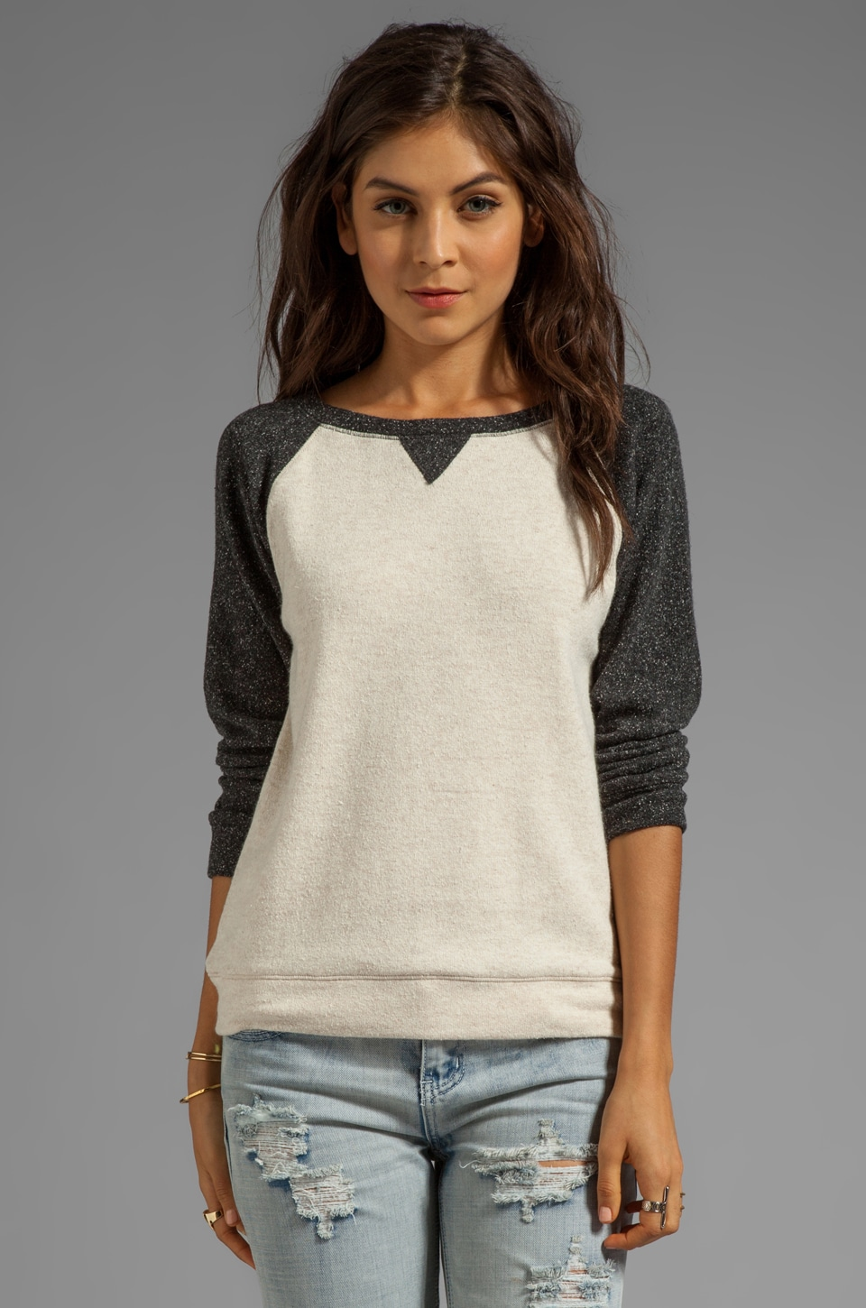 Graham & Spencer Brushed Sweatshirt in Charcoal/Oatmeal
