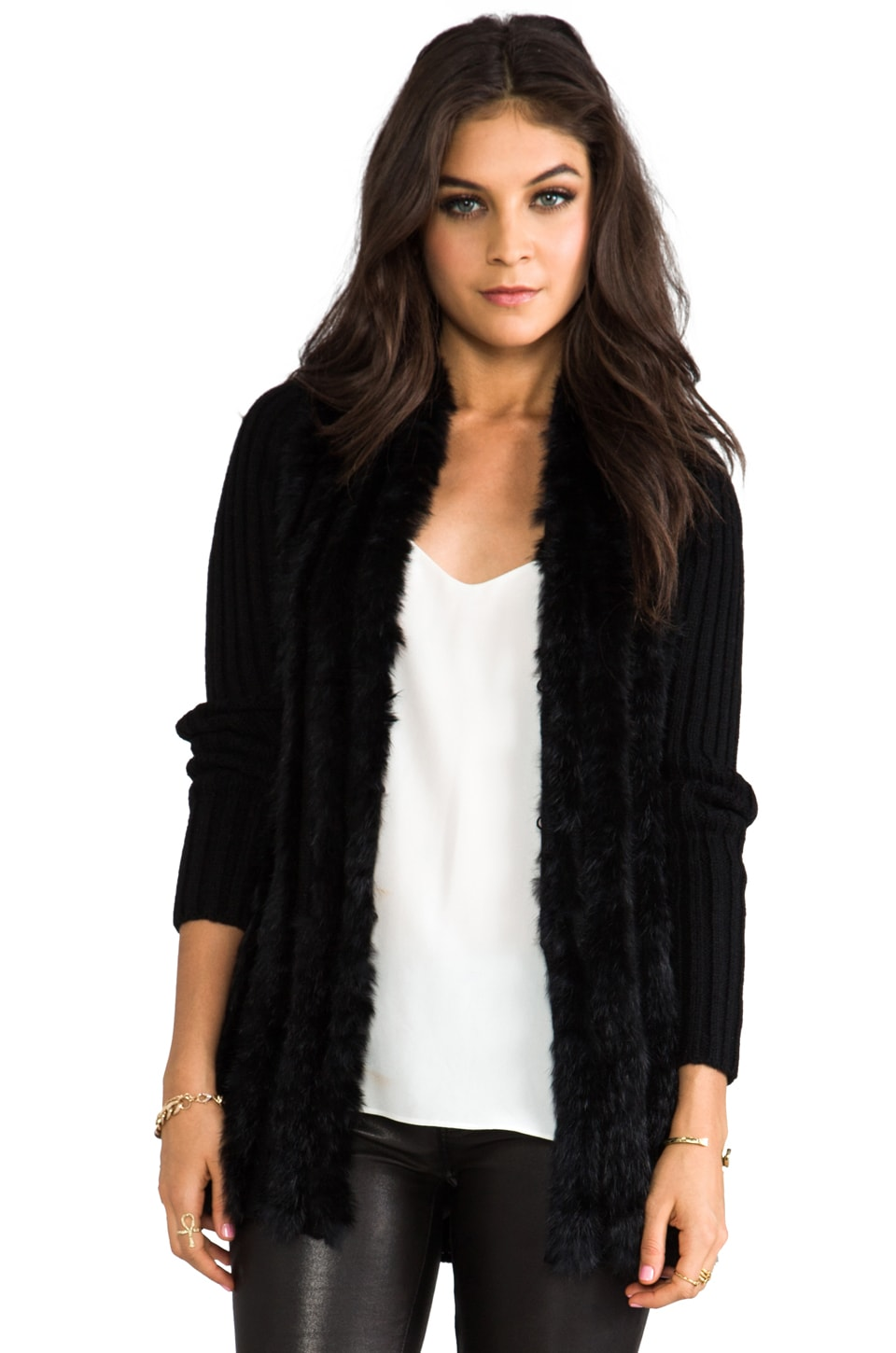 Graham & Spencer Rabbit Fur Coat in Black
