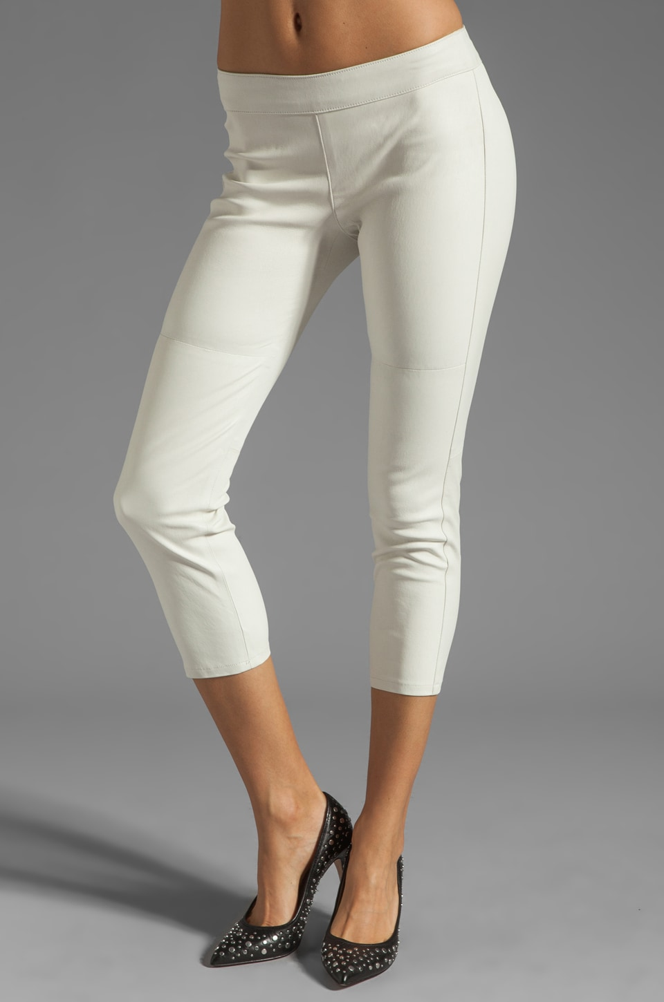 Graham & Spencer Stretch Leather Pants in Stone