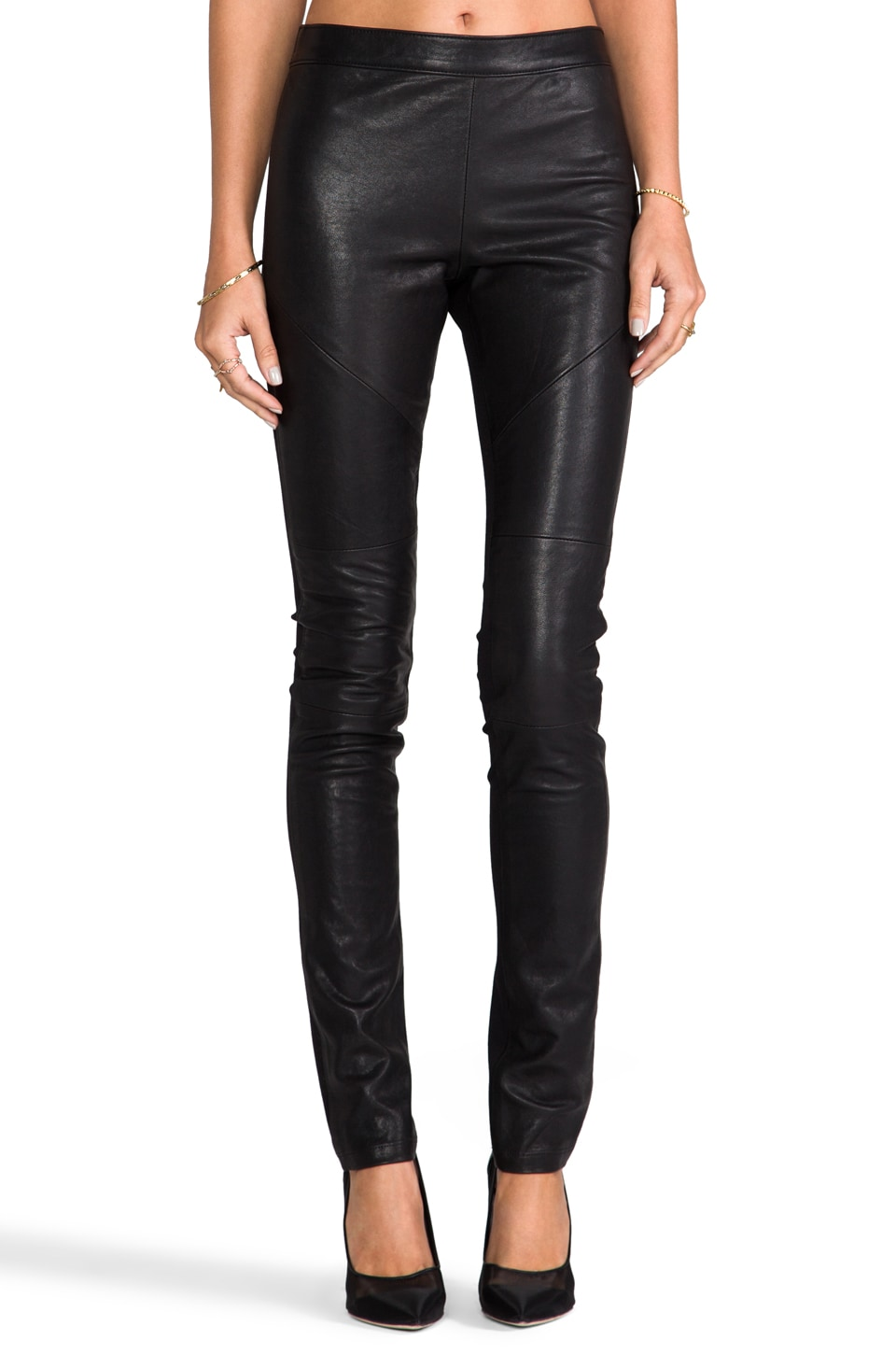 Graham & Spencer Leather Ponti Pants in Black