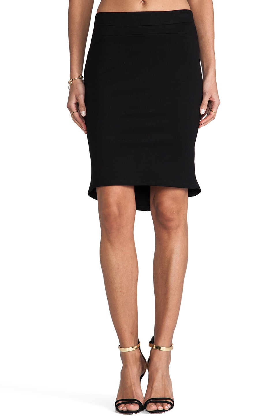 Graham & Spencer Solid Ponti Skirt in Black