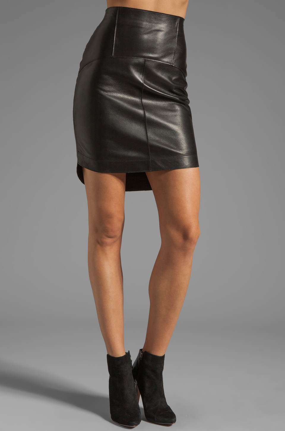 Graham & Spencer Leather Skirt in Black