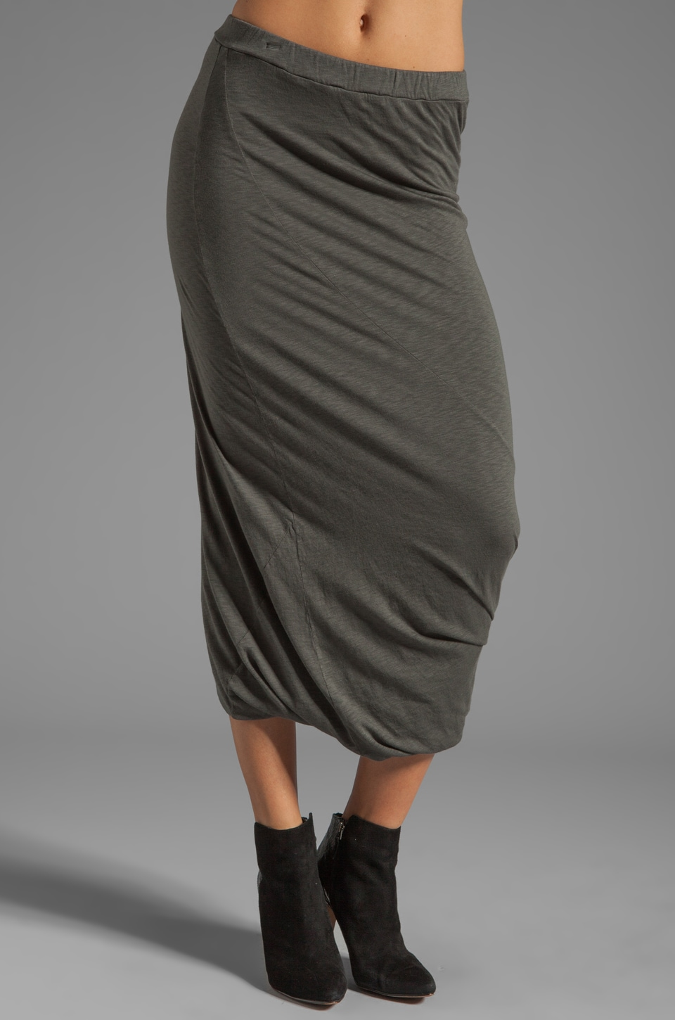 Graham & Spencer Modal Slub Drape Skirt in Storm