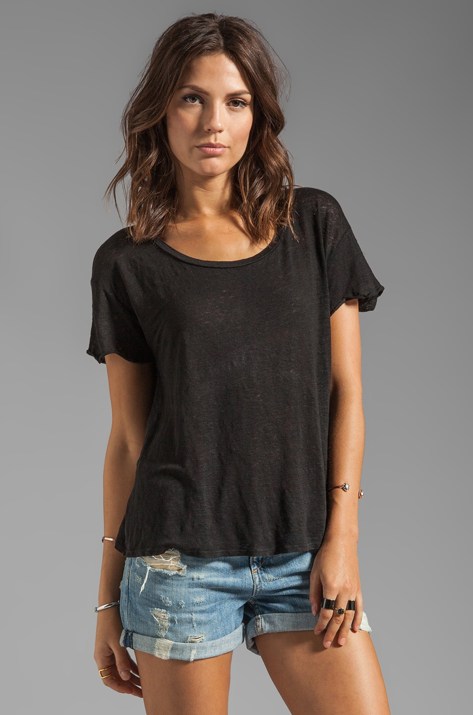 Graham & Spencer Linen Knit Tee in Black
