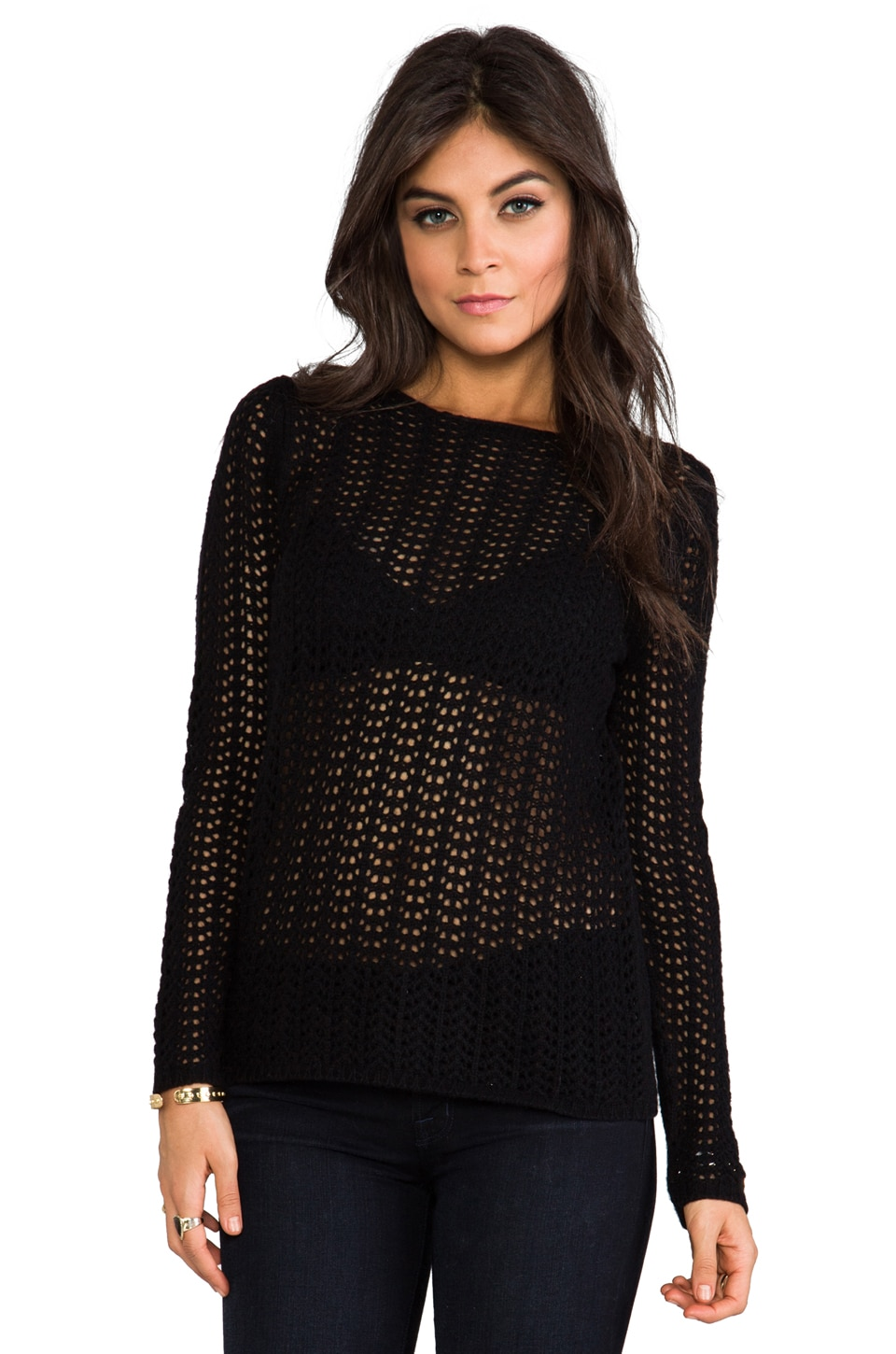 Graham & Spencer Lace Stitch Top in Black