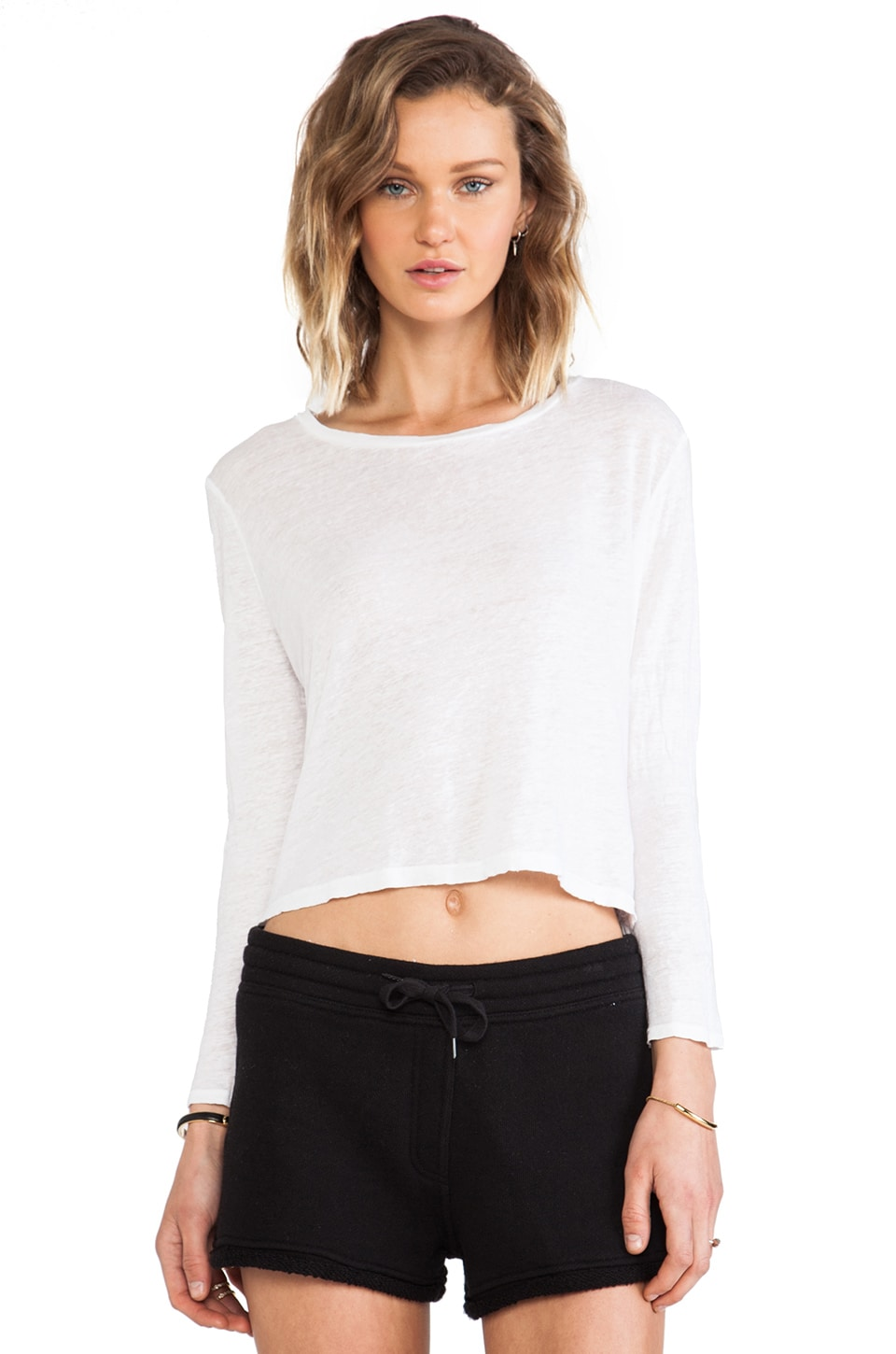 Graham & Spencer Linen Silk Knit Tee in White