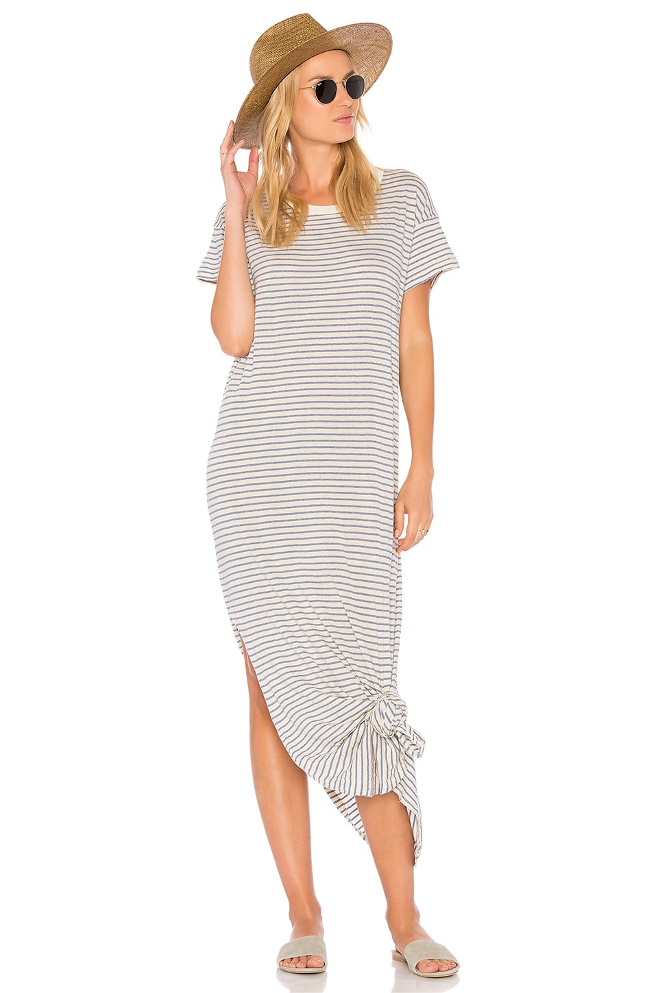 The Great The Knotted Tee Dress in Blue Stripe
