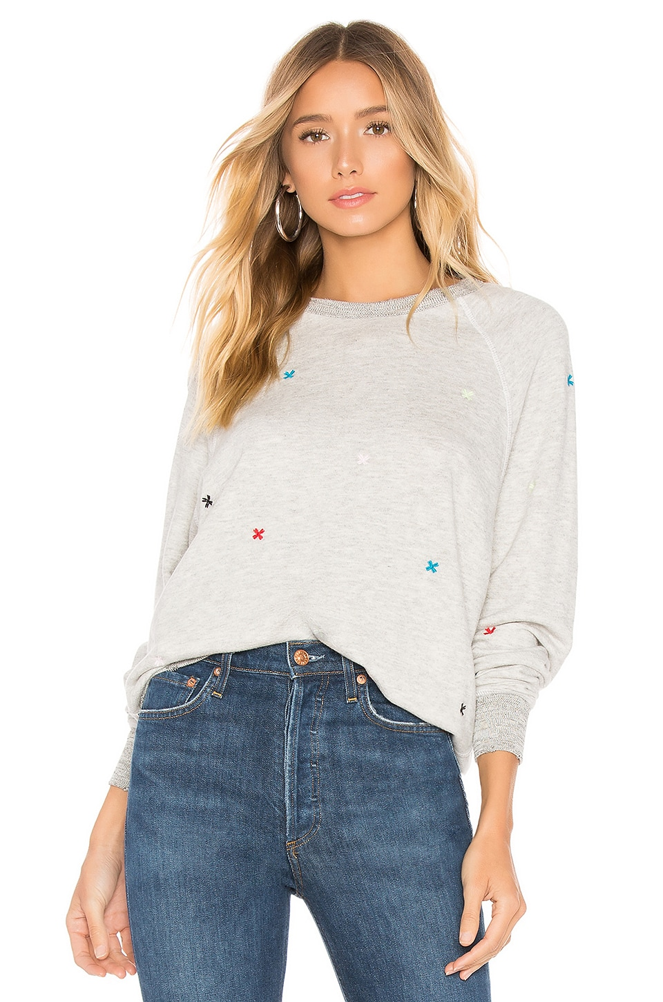 The Great The College Sweatshirt in Heather Grey with Multi Folk Embroidery