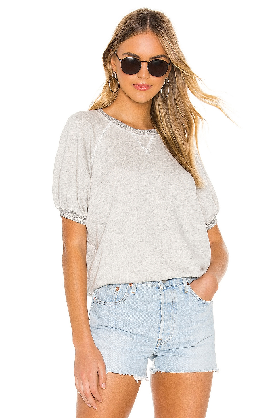 The Great Puff Short Sleeve Sweatshirt in Heather Grey